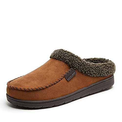 Dearfoams Men's Microfiber Suede Clog with Whipstitch...