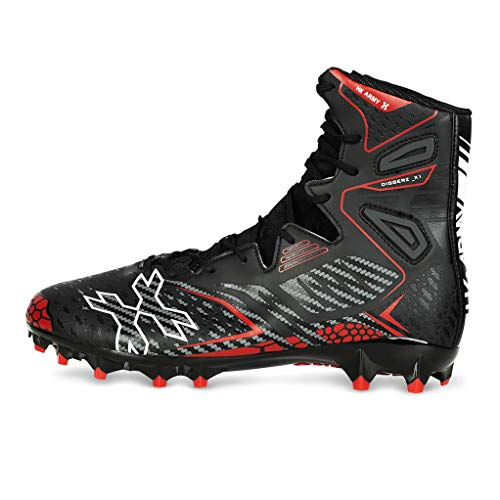 HK Army Digger X1 Hightop Paintball Cleats - Black/Red (10)