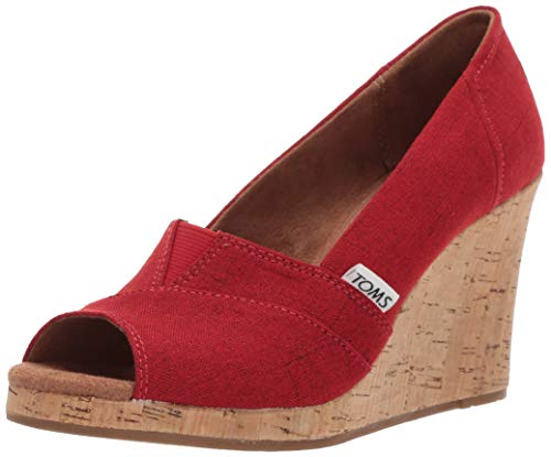 TOMS Women's Classic Espadrille Wedge Sandal, red Crosshatch...
