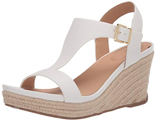 Kenneth Cole REACTION Women's T-Strap Wedge Sandal, White, 6