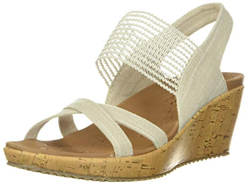 Skechers womens Beverlee - High Tea Wedge Sandal, Natural, 6...
