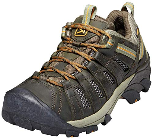 KEEN Men's Voyageur Trail Shoe, Black Olive/ Inca Gold, 10 M...