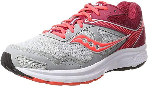 Saucony Women's Cohesion 10 Grey/Pink Running Shoe 8.5 M US