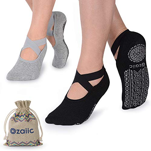 Ozaiic Yoga Socks for Women Non-Slip Grips & Straps, Ideal...
