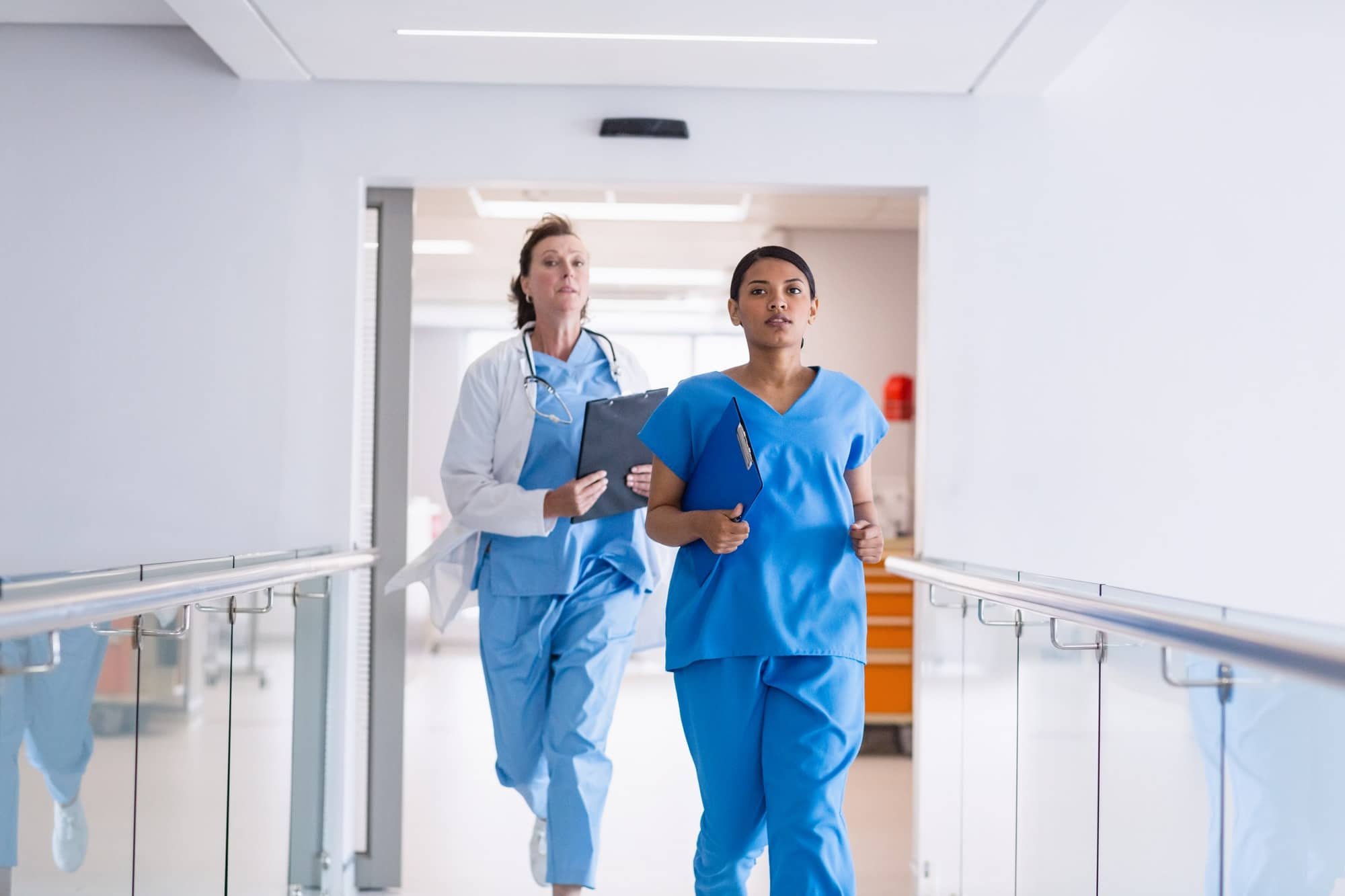 Nurse and doctor running