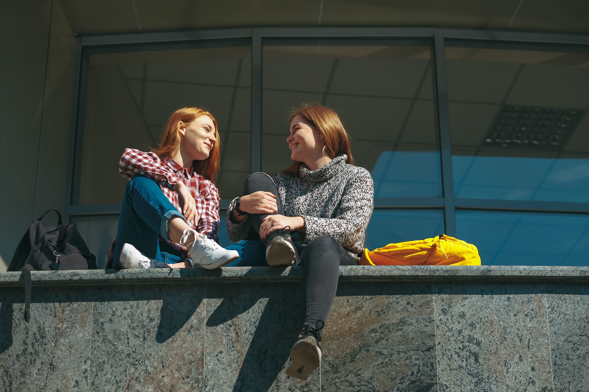 Teenager girls chatting happy